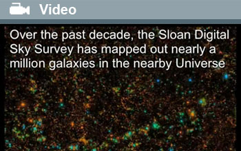 Image and text showing galaxies mapped by the Sloan Digital Sky Survey.