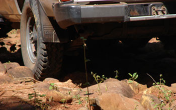 closeup image of a four-wheel-drive vehicle.