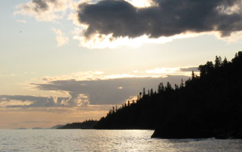 Photo of the shoreline of Isle Royale in Lake Superior.
