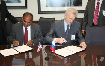 NSF Director Suresh and Russian Education and Science Minister Andrei Fursenko sign historic MOU.