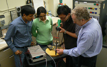 Photo, left-to-right, of Vijay Srivastava, Kanwal Bhatti, Yintao Song and Richard James.