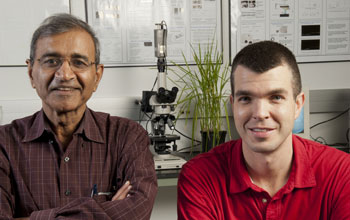 Ohio State engineers Bharat Bhushan (left) and Gregory Bixler (right).