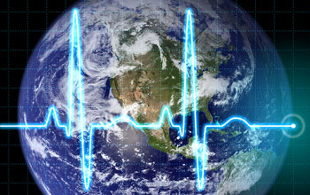 Graphic illustration showing the earth with an EKG-like signal