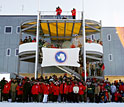 Photo of the dedication crowd at the new South Pole station