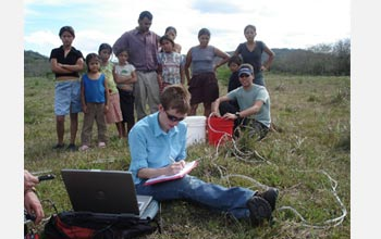 Photo of Jill Bruning entering data with small group standing behind her in a  farmer's field