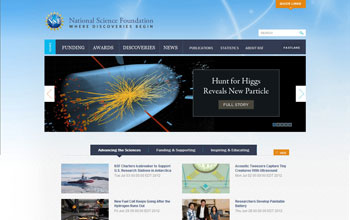 Screen capture of NSF's new home page.