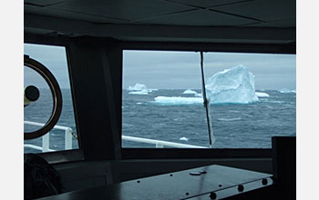 "Photo of the view from the driver's seat, or the ""bridge,"" on the R/V Roger Revelle."
