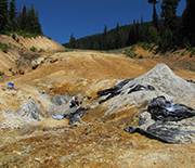 Blue Clay In An Open Pit Mine Near Crater Lake Oregon