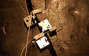 The MicroStrain Nano-DVRT wireless sensors clamped to the Liberty Bell.