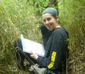 Photo of doctoral candidate Vanessa Hull gathering data in the Wolong Nature Reserve, China.