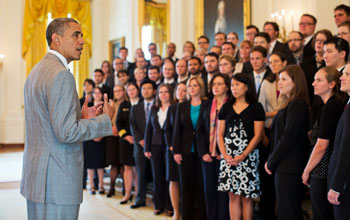Photo of President Obama addressing 2011 PECASE recipients in the White House East Room.
