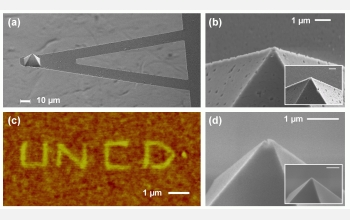 This slide highlights the ultra-nano-crystalline diamond (UNCD) atomic force microscope cantilever