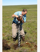 Photo of Thomas A. Douglas, co-principal investigator on the project, drilling in tundra.