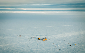 Aerial view of a field camp on Pine Island Glacier Ice Shelf.