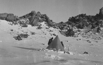 1912 campsite of researchers led by geologist Raymond Priestley on Mt. Erebus.
