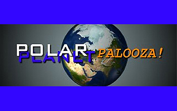 Polar-Palooza logo with words Polar Palooza and Planet over illustration of the Earth