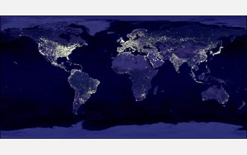 map of the night time city lights of the world growing in extent each year