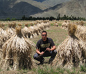 Photo of David Ortega in a wheat field outside of Lhasa, Tibet, China.