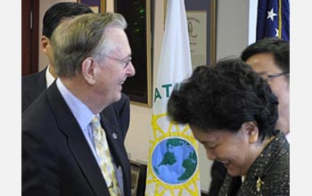 NSF Director Arden L. Bement, Jr., with Liu Yangong, a state councilor of the PRC.