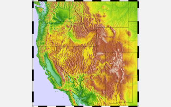 Map showing mountain chains in the Western United States.