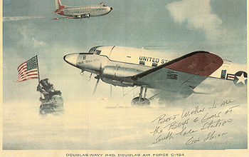 A print of the aircraft <i>Que Sera Sera</i> at the South Pole is autographed by the pilot.