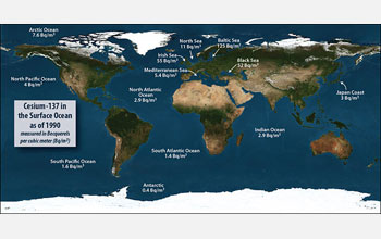 World map showing Cesium-137 levels in the surface ocean as of 1990.
