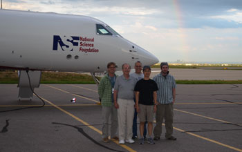 Scientists next to the NSF/NCAR Gulfstream-V aircraft.
