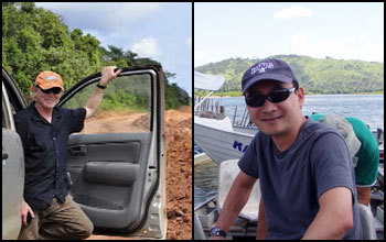 Image of researcher Robert Walker on left and project manager Eugenio Arima on right.