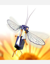 An artist's conception of a robotic bee, created as part of the Harvard RoboBees Project.