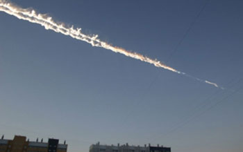 Sky showing a meteor trail over eastern Russia