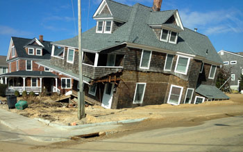 Crocked house destroyed in 2012 by Hurricane Sandy in the main breach in Mantoloking, N.J.