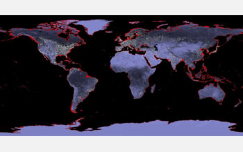Map of the world showing areas in red inundated by a future sea level rise of six meters.