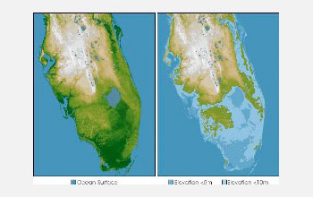 Images of present day Florida on left and what Florida will look like in future with sea level rise.