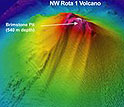 This three-dimensional view shows the NW Rota-1 volcano, site of a recent expedition.