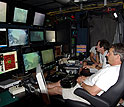 Scientists track Jason's progress on the sea-floor from a control room aboard ship.