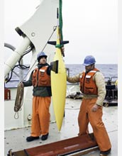 Photo of a seaglider prepared for deployment by Avery Snyder and Adam Huxtable.