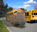 School bus spewing smoke through exhaust pipe