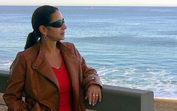 Photo of marine scientist Adina Paytan near the ocean.