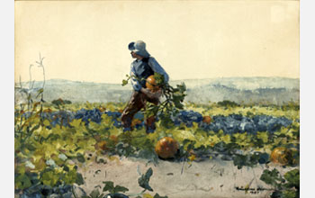 Image of Winslow Homer's 1887 painting For to Be a Farmer's Boy.