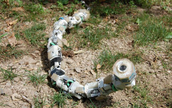 Photo of the snake robot that moves without the aid of a fixed base.