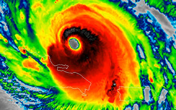 Hurricane with clearly defined eye in radar image