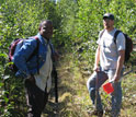 Photo of researchers Johnson Nkem and Jamie Hollingsworth taking samples from the boreal forest.