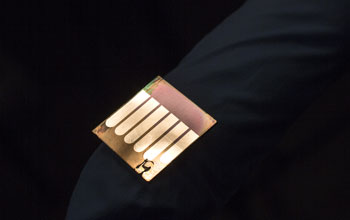 A close-up image of a polymer solar cell developed by Jinsong Huang