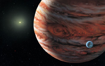 An artist's depiction of Jupiter, which may protect earth from comets.