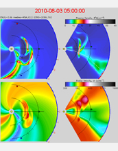 Graphic showing space weather modeling.