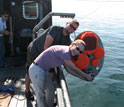 Scientists get ready to deploy split beam echosounders off the ship.