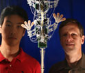 Photo of Sangbae Kim and Mark Cutkosky with the robot stickybot.