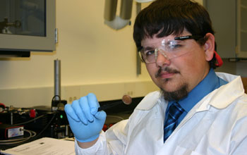 Photo of student Keith Berry in the chemistry lab