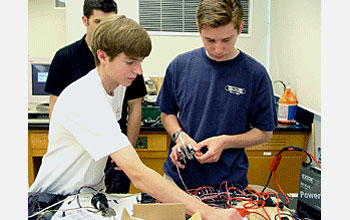 Photo of high school students building a ROV.