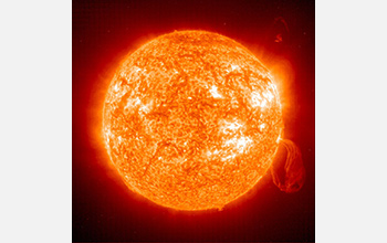 Photo of the Sun taken by the SOHO spacecraft.